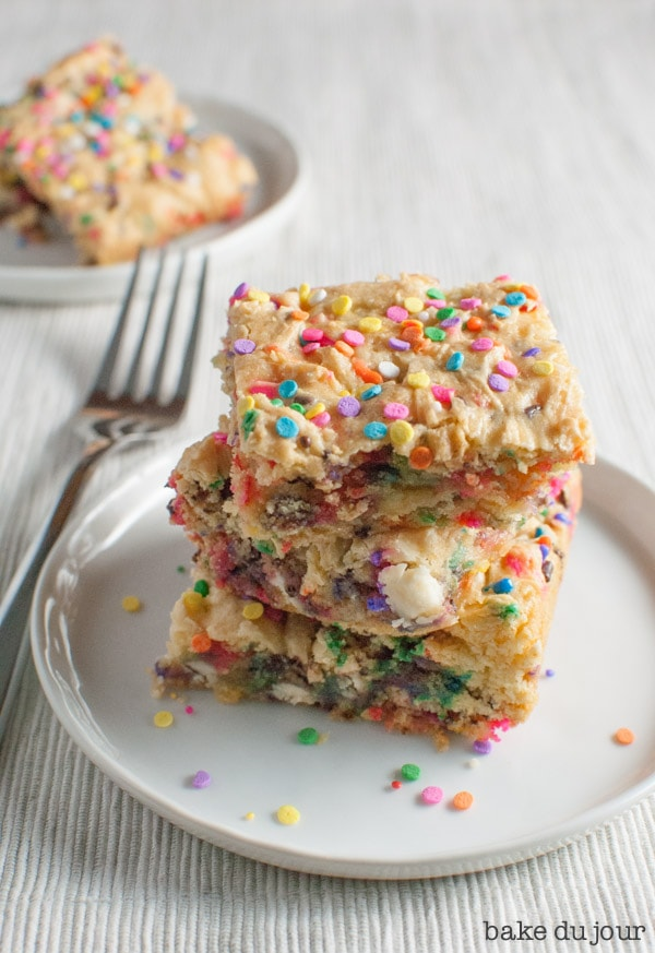 Cake Batter Bars - 3 bars stacked on top of each other