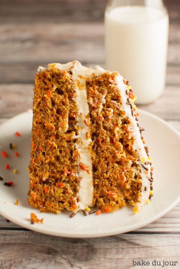 My Favorite Carrot Cake - a slice of carrot cake on a white dish