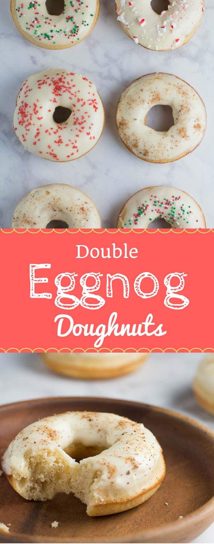 These Double Eggnog Doughnuts are super moist and come together in under an hour. Perfect for Christmas morning breakfast! #eggnogdoughnuts #donuts #doughnuts #christmasbaking | bakedujour.com