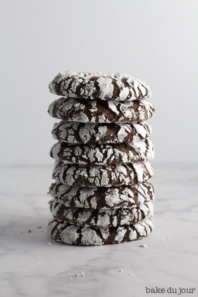 A stack of chocolate crinkle cookies