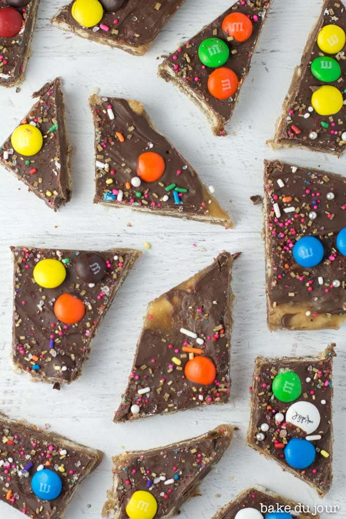 Chocolate Saltine Toffee laid out