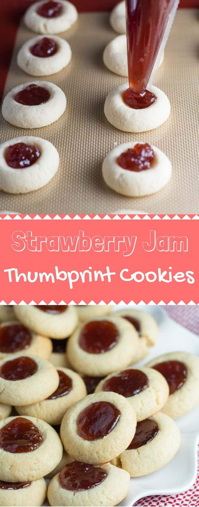 These Strawberry Jam Thumbprint Cookies are so fun to make! It's a super simple recipe, and you can fill it with whatever you like. I'd recommend keeping this one in your back pocket! #thumbprintcookies #fruitycookies #dessert #sweets | bakedujour.com