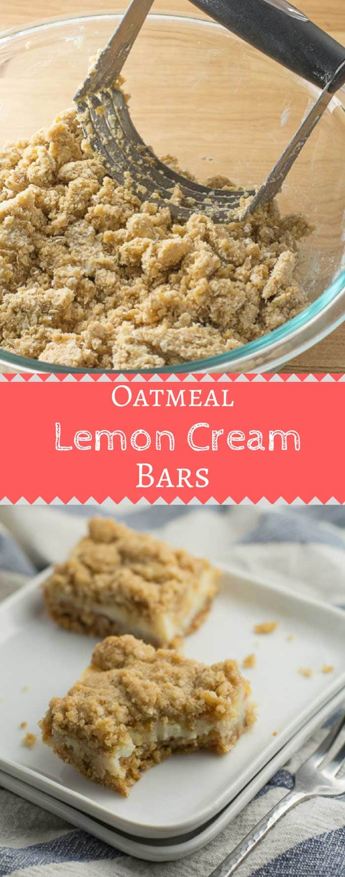 These Oatmeal Lemon Cream Bars are perfect for the lemon lover. No mixer needed and it comes together in under an hour! #lemonbars #lemonbakes #summerbaking | bakedujour.com