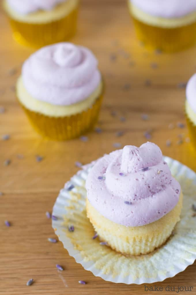Lemon Lavender Cupcakes in the cupcake liners