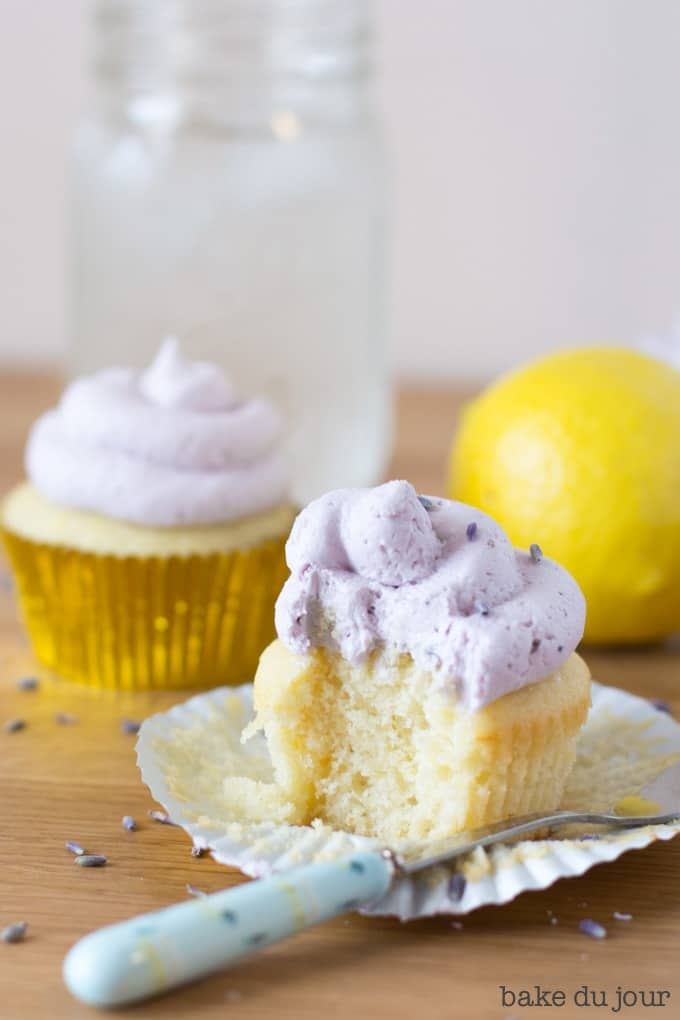 Lemon Lavender Cupcakes with a bite taken out of it