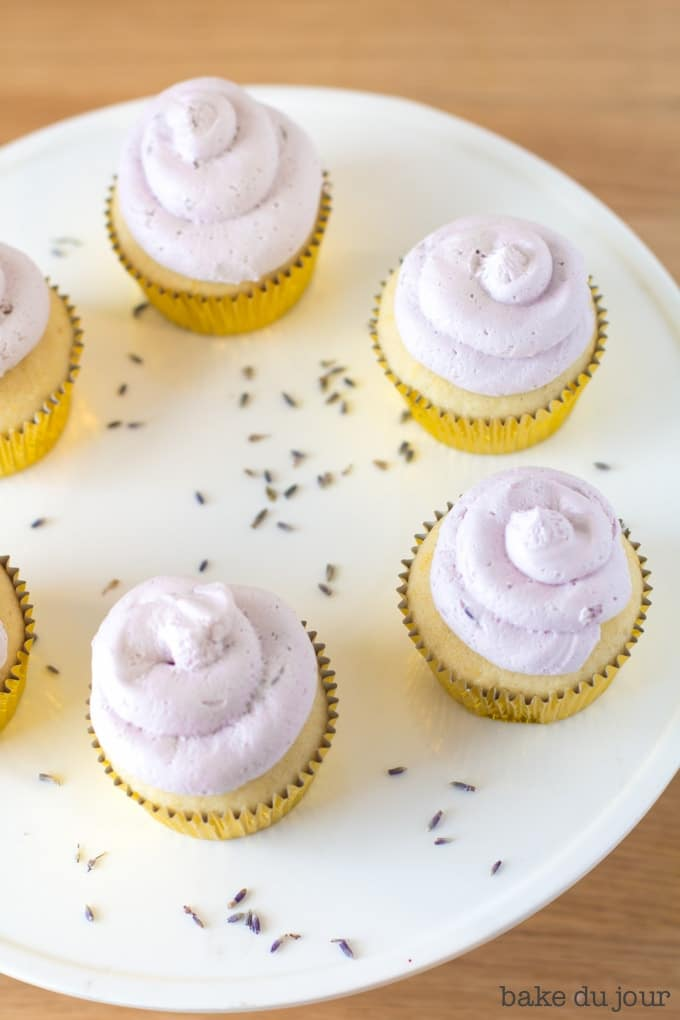 Lemon Lavender Cupcakes arranged in a circle