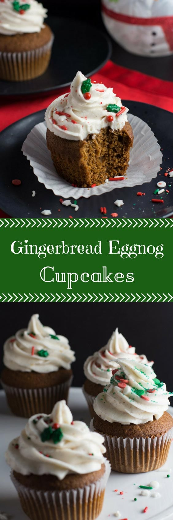 These Gingerbread Eggnog Cupcakes feature a warmly spiced cupcake, topped with a festive eggnog frosting. It's the perfect way to use up your leftover eggnog! #cupcakes #gingerbread #eggnog #dessert #christmas #christmasbakes | bakedujour.com