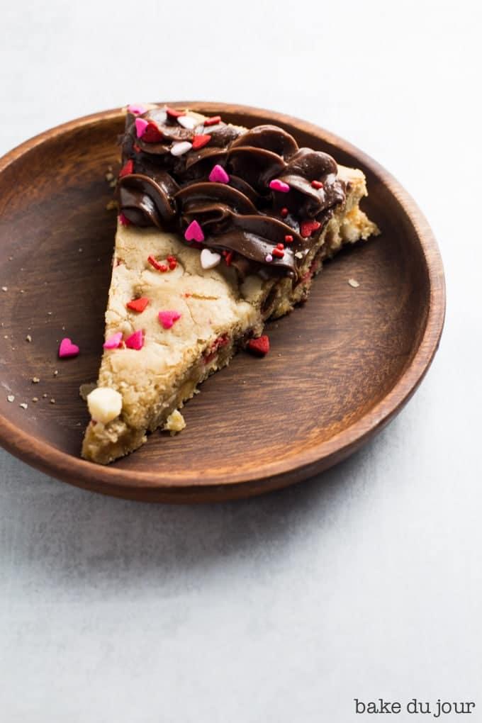 Slice of Valentine's Day Cookie Cake