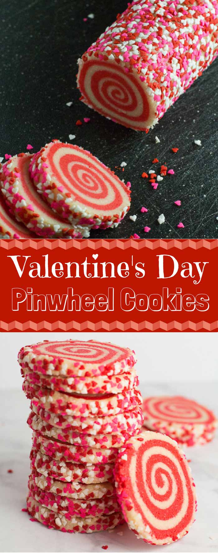 Feast your eyes on these Valentine's Day Pinwheel Cookies! The best part about this recipe? You can adapt this to any occasion and holiday! #valentinesdaybaking #pinwheelcookies #sugarcookies | bakedujour.com