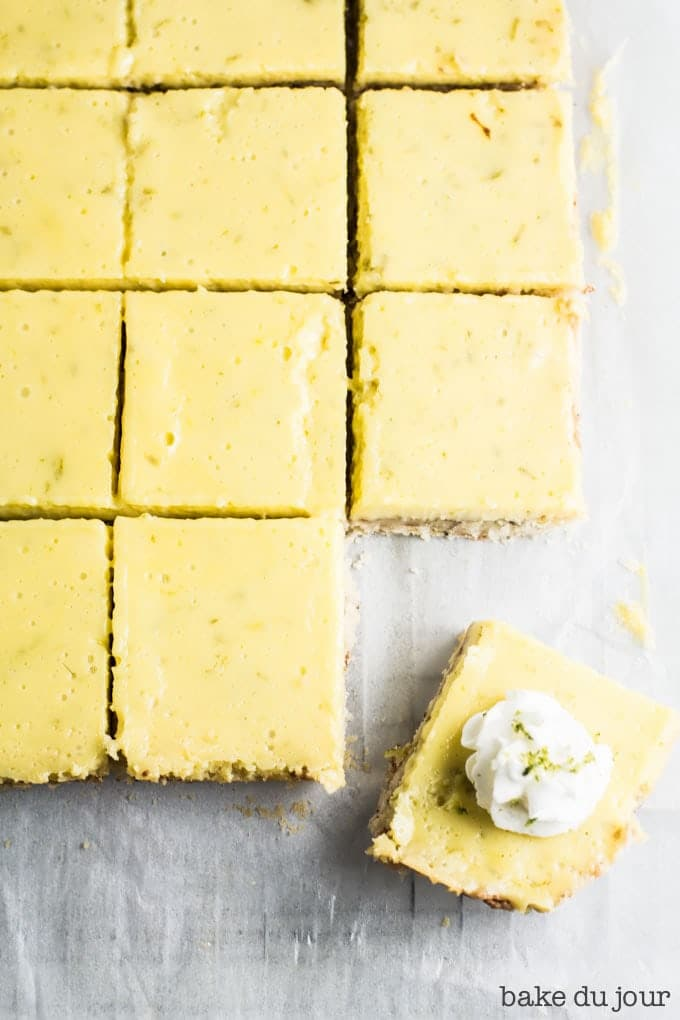 Coconut Lime Bars after they've been taken out of the pan and cut into pieces