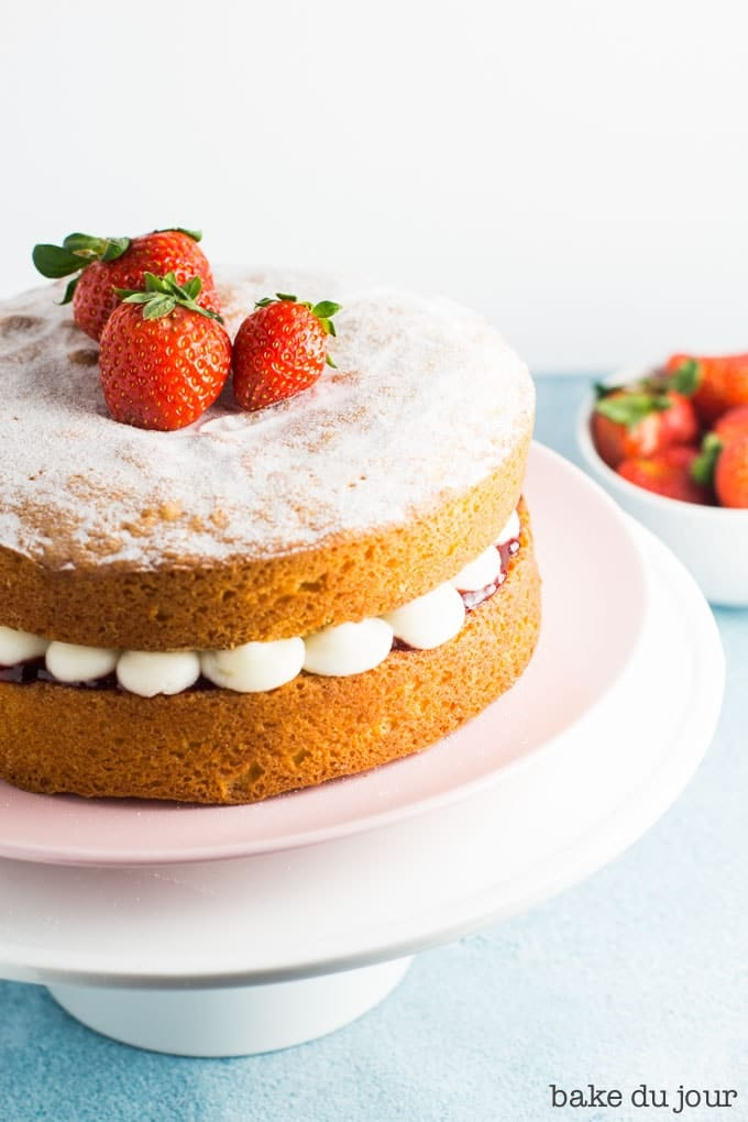 Victoria Sandwich Cake on a cake stand