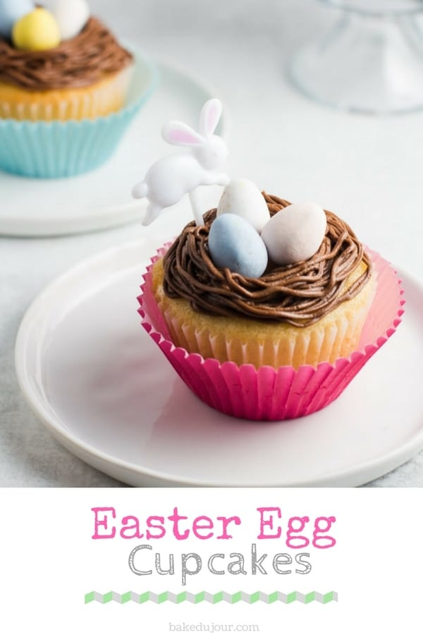 Prepare to wow everyone at your upcoming Easter gathering! These Easter Egg Cupcakes feature a simple yellow cake, topped with a smooth chocolate buttercream frosting. And let's not forget the real winner here: the Cadbury mini eggs! #eastereggcupcakes #cupcakes #easterdessert | bakedujour.com