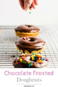 Pinterest graphic for Chocolate Frosted Doughnuts
