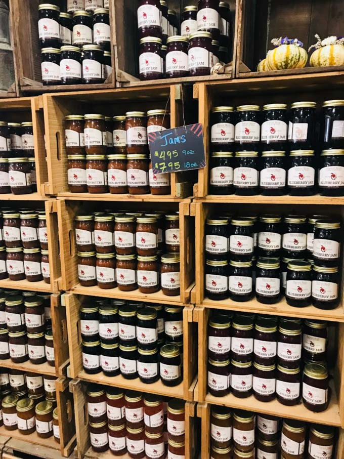 Jars of jam at Harvest Moon Farm and Orchard