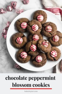 Chocolate Peppermint Blossom Cookies Pinterest graphic