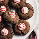 Chocolate Peppermint Blossom Cookies on a white plate