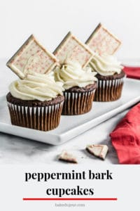 Peppermint Bark Cupcake Pinterest graphic